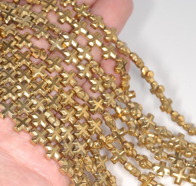 "6MM GOLD HEMATITE GEMSTONE CROSS LOOSE BEADS 16/"""