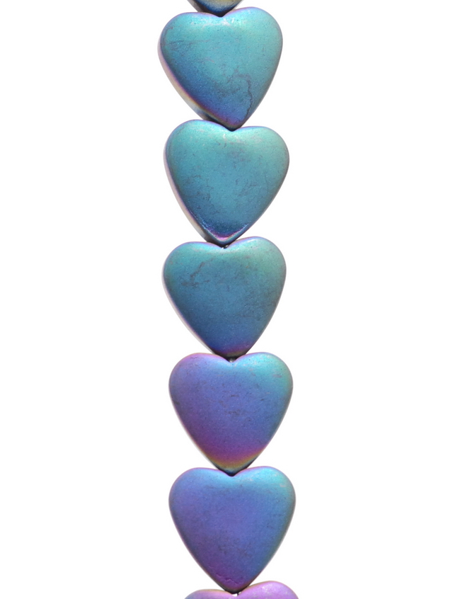8MM RAINBOW HEMATITE GEMSTONE LOVE HEART LOOSE BEADS 16/""