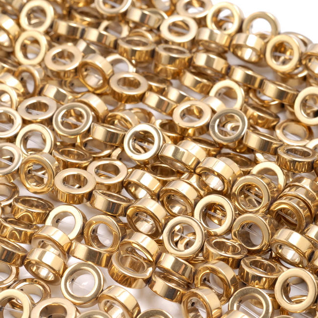 "10MM GOLD HEMATITE GEMSTONE RIM HALO CIRCLE LOOSE BEADS 16/"""