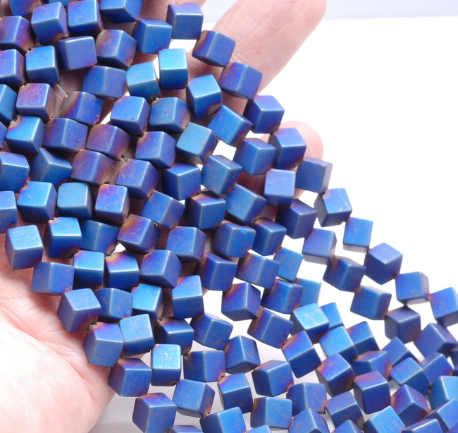 """2MM MATTE BLUE HEMATITE GEMSTONE SQUARE ROUDED CUBE LOOSE BEADS 16/"""""""