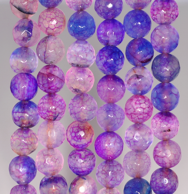 """8MM PURPLE DRAGON VEIN AGATE GEMSTONE FACETED ROUND LOOSE BEADS 14.5/"""""""