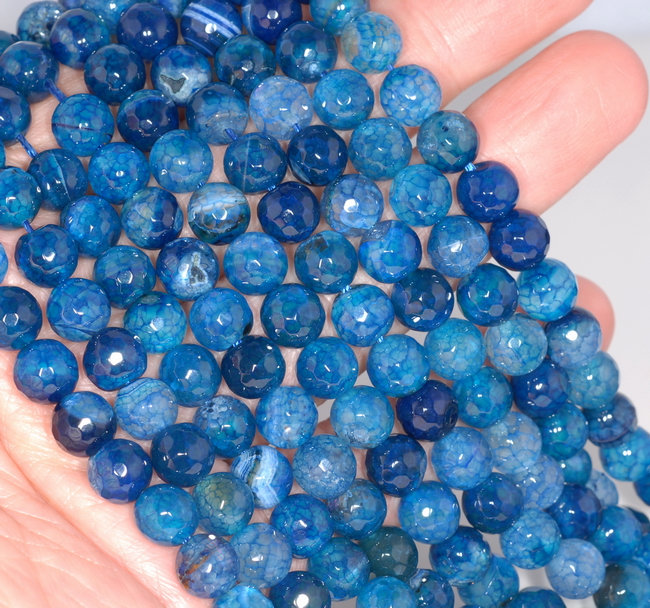 """8MM SEA BLUE DRAGON VEIN AGATE GEMSTONE FACETED ROUND LOOSE BEADS 14.5/"""""""
