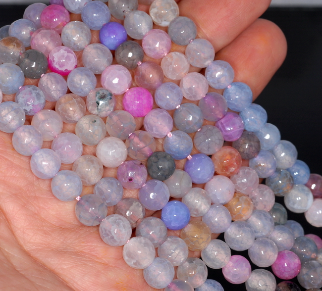 8MM RAINBOW DRAGON VEIN AGATE GEMSTONE FACETED ROUND LOOSE BEADS 14.5/""