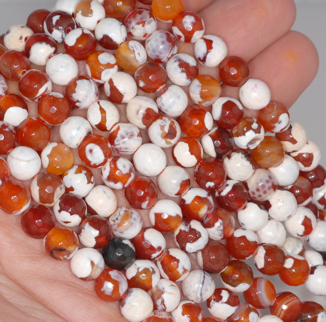8MM ORANGE FIRE AGATE GEMSTONE FACETED ROUND LOOSE BEADS 14.5/""