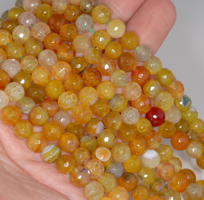 """8MM YELLOW GREEN DRAGON VEIN AGATE GEMSTONE FACETED ROUND LOOSE BEADS 13.5/"""""""