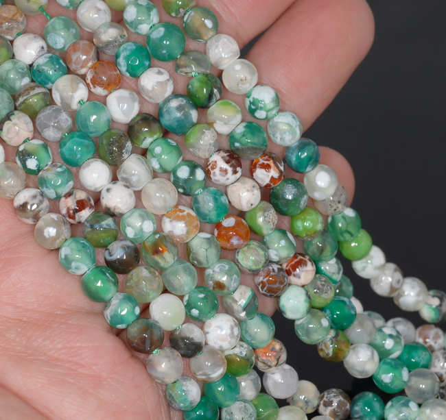 """6MM GREEN WHITE FIRE AGATE GEMSTONE FACETED ROUND LOOSE BEADS 14.5/"""""""