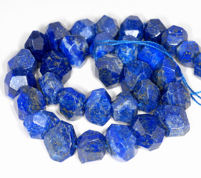 18Inches Finest Quality Strand Natural Lapis Lazuli Beads Natural Gemstone Faceted Nugget Chunks Beads  13x8--9x6 MM  Beads  D726
