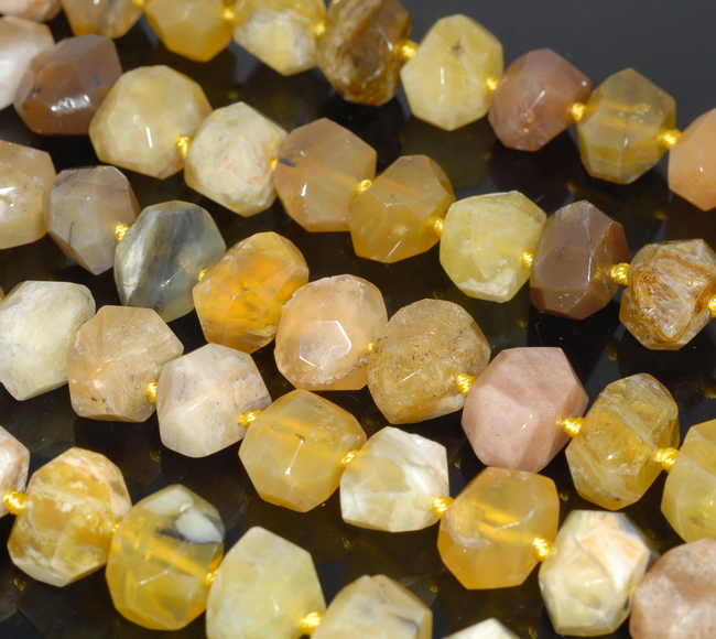 """18X12MM YELLOW OPAL GEMSTONE FACETED NUGGET LOOSE BEADS 7.5/"""""""