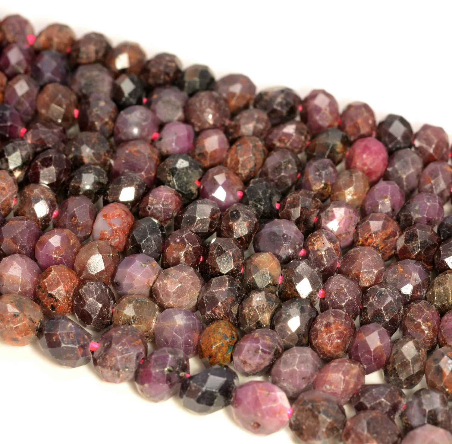 """5X4MM RUBY GEMSTONE GRADE B MICRO FACETED RONDELLE LOOSE BEADS 15/"""""""