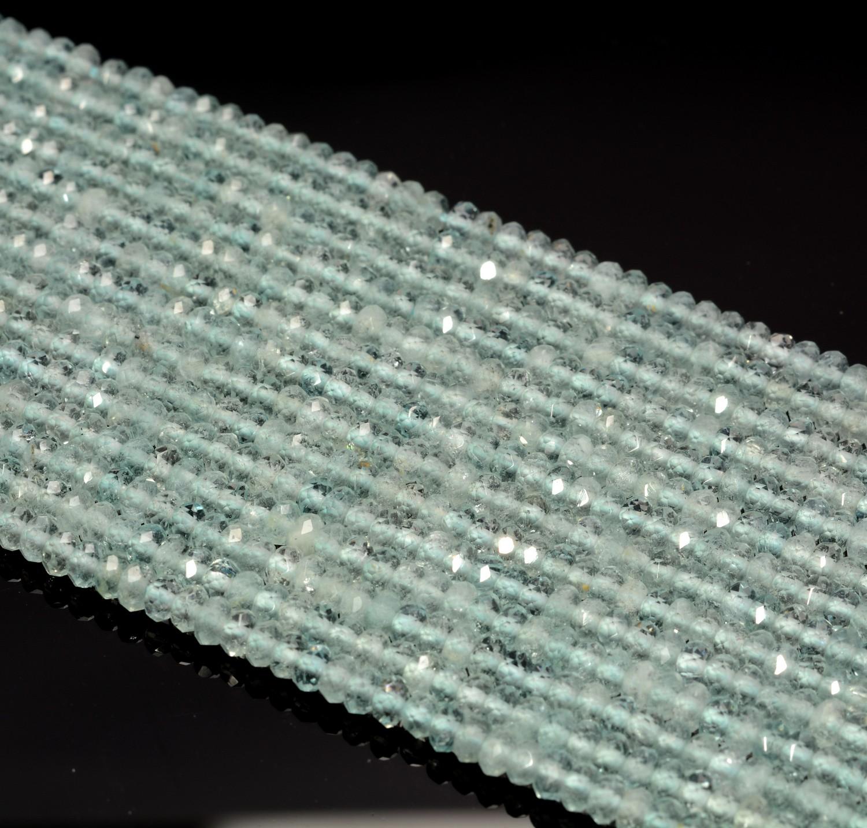 3X2MM Licht Aquamarin Edelstein Mikro Facettierten Rondell Locker Perlen 39.4cm