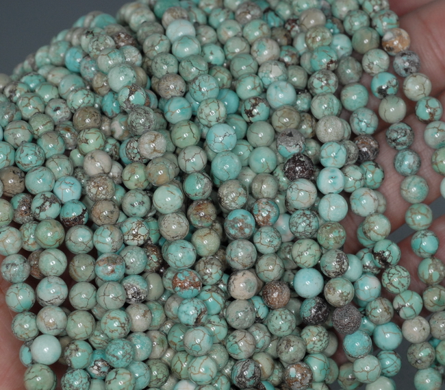 8MM TURQUOISE HOWLITE GEMSTONE ROUND LOOSE BEADS 15.5/""
